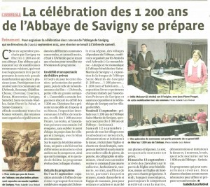 02-02-2015 Article  Progres la célébration des 1200 ans se prépare