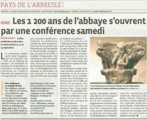 les 1200 ans de  l'abbaye s'ouvrent par une conférence à l'Arbresle