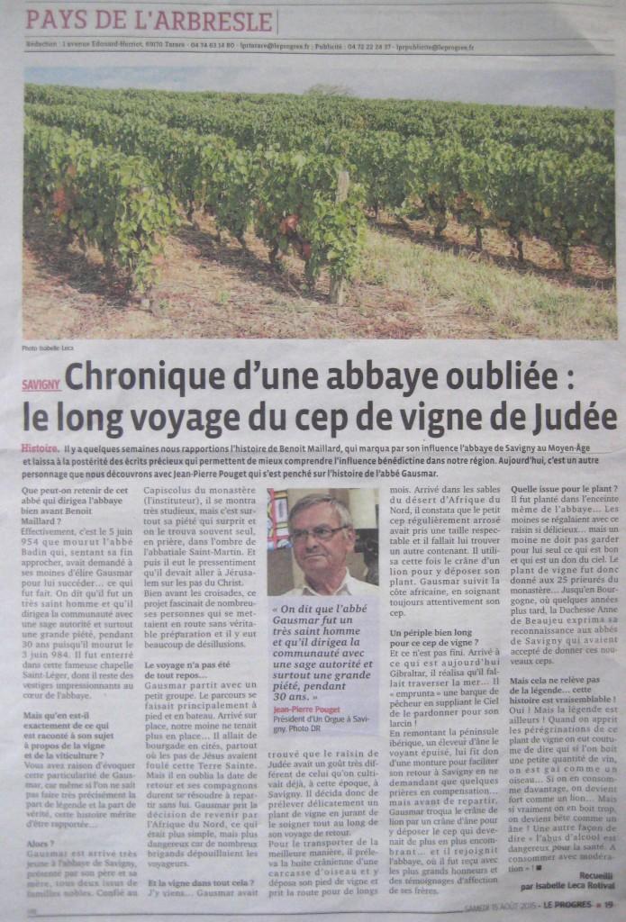 chronique d'une abbaye oubiée : le long voyage du cep de vigne de judée et l'abbé Gausmar