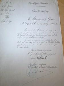 1887 lettre ministre